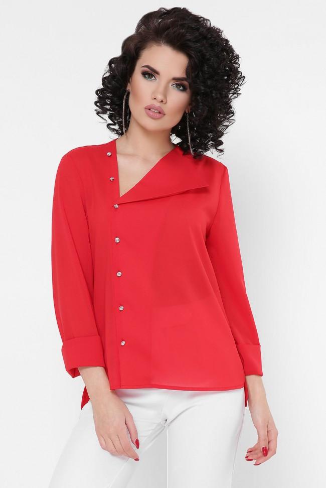 """Красивая блузка с длинными рукавами и застежкой сбоку  """"Constance"""" красная"""