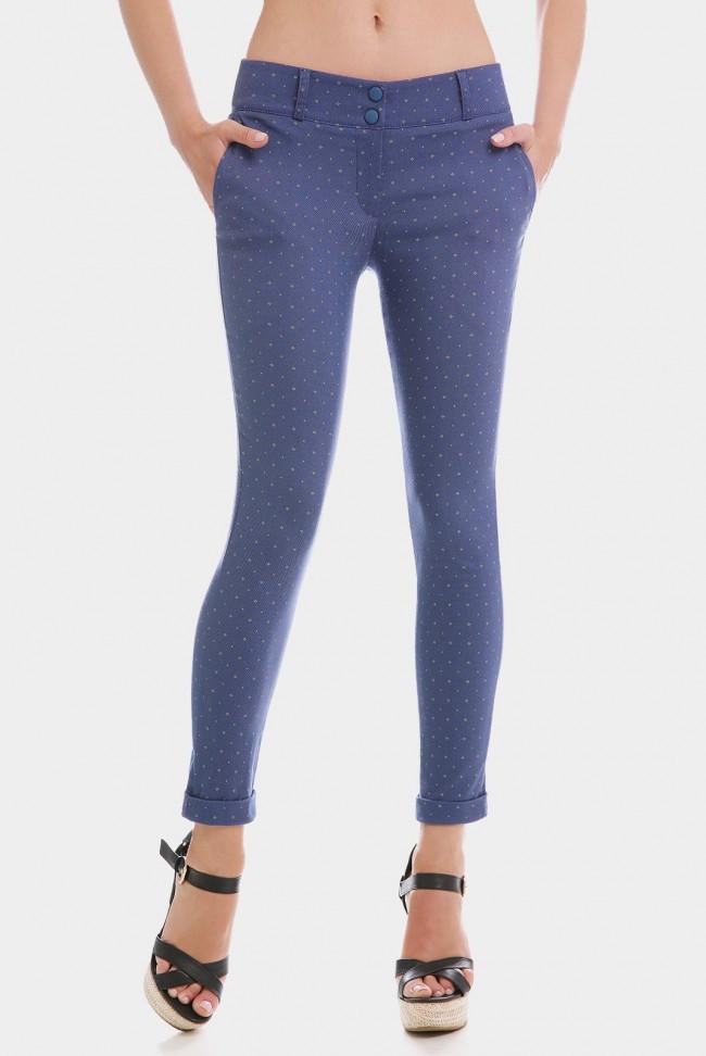 Укороченные синие женские брюки COTTON BENGALIN DESIGN