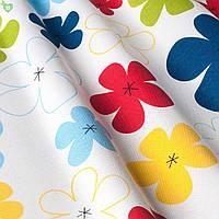 Декоративная ткань детские разноцветные цветы зеленого желтого красного и синего цвета Турция 83591v29