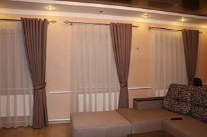 Комплект: шторы на люверсах с тюлью. Ткань лен. Заказ оформлен на сайте. Отправлен в Черниговскую область. Заказ выполнен на все окна в дом.