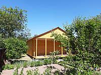 Дачный дом 6м х 6м  из фальшбруса плюс терраса