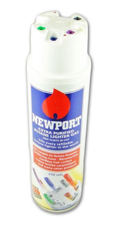 Газ высокой очистки для зажигалок, газовых горелок, газовых паяльников Newport. 250 ml