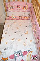 """Детское постельное белье в кроватку """"Бим Бом"""" комплект 5 ед. (сова розовый), фото 2"""