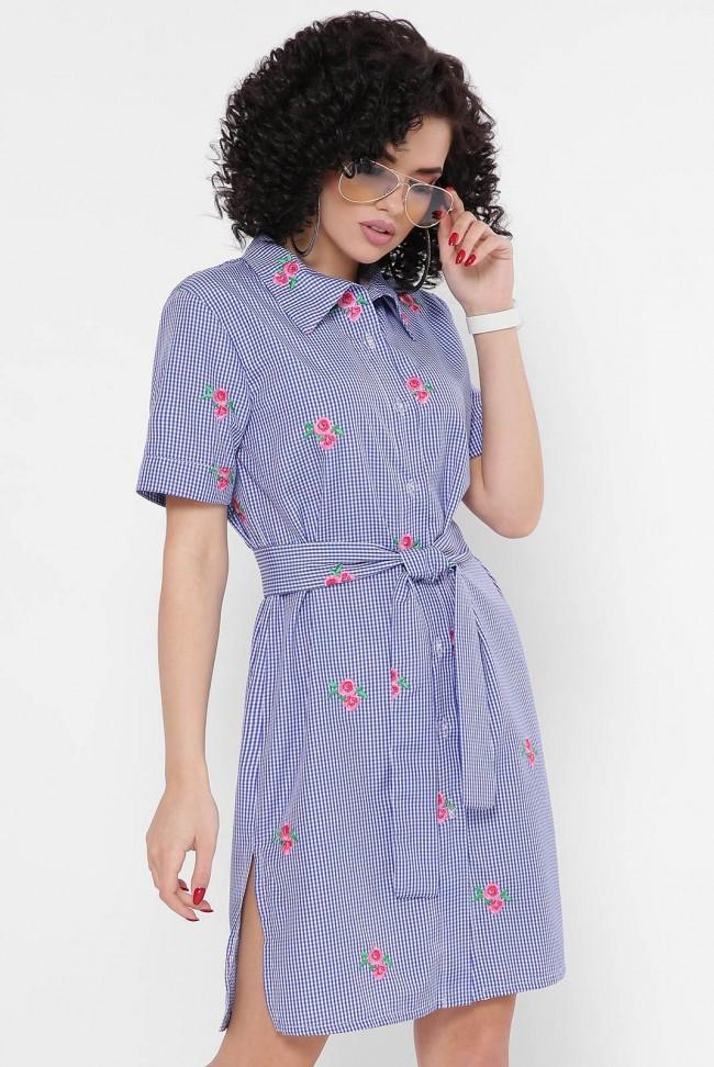 """Модное легкое платье-рубашка в клетку с короткими рукавами """"Sophie"""" синее"""