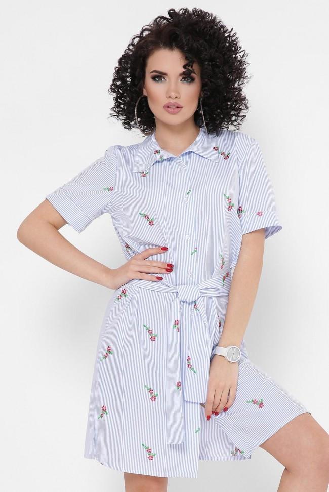 """Легке коротке плаття-сорочка в смужку з пояском """"Sophie"""" блакитне в квіточку"""