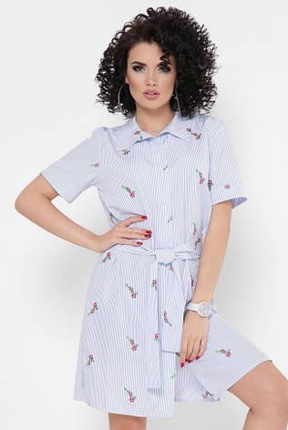 """Легке коротке плаття-сорочка в смужку з пояском """"Sophie"""" блакитне в квіточку, фото 2"""