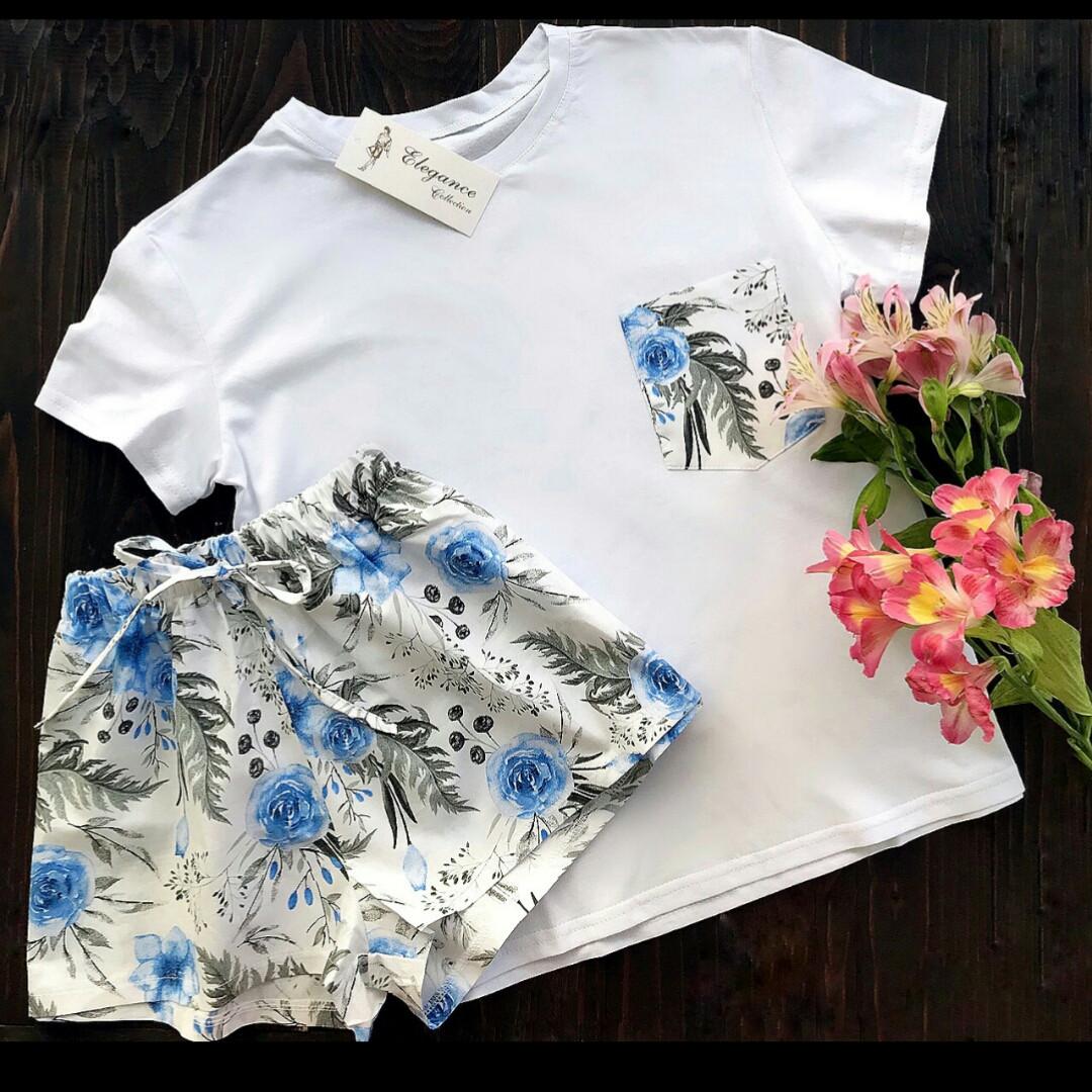 Пижама хлопок L-XL синие цветы