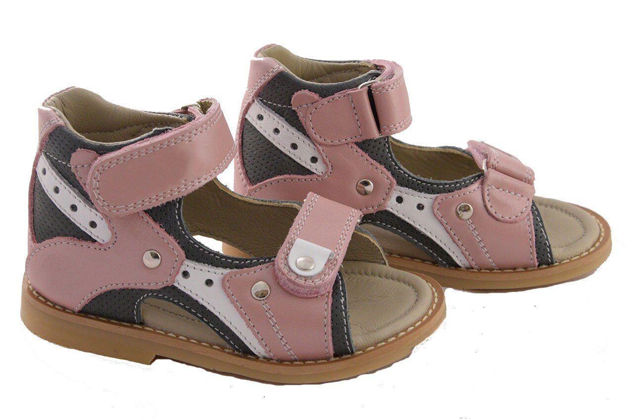 Ортопедические сандалии для девочки с супинатором Ortop 002-1pg (кожа), размер 20