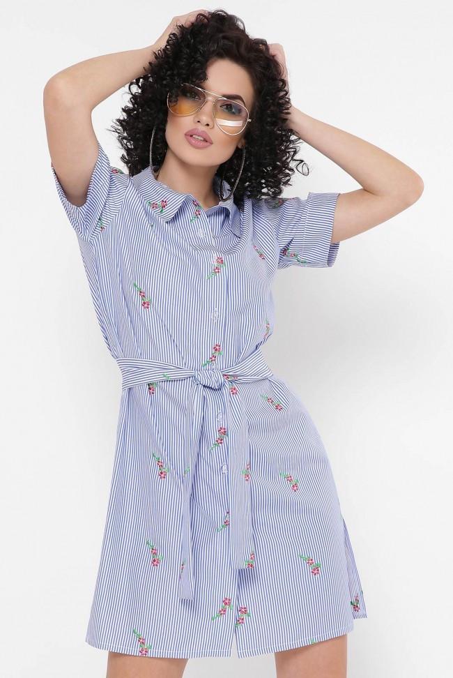 """Синее короткое летнее платье-рубашка в полоску и цветочек """"Sophie"""""""