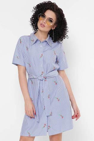 """Синее короткое летнее платье-рубашка в полоску и цветочек """"Sophie"""", фото 2"""