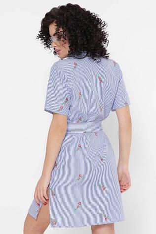 """Синє коротке літнє плаття-сорочка в смужку і квіточка """"Sophie"""", фото 2"""