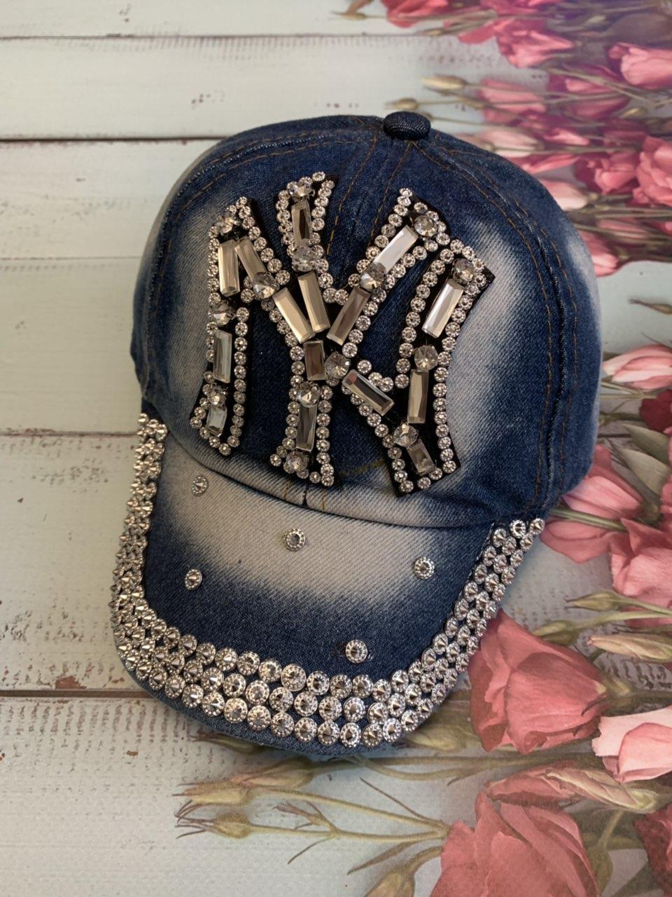 Бейсболка детская джинсовая, оптом, 7 км, головные уборы оптом, кепка девочка, кепка со стразами