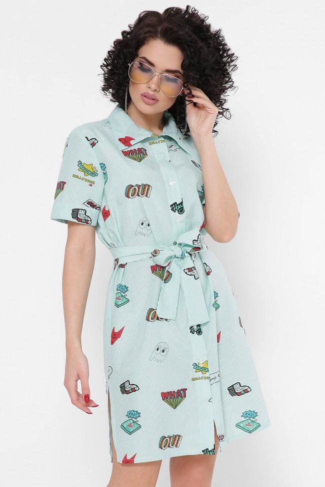 """Модне літнє смугасте плаття-сорочка короткий з поясом """"Sophie"""" зелене з принтами"""