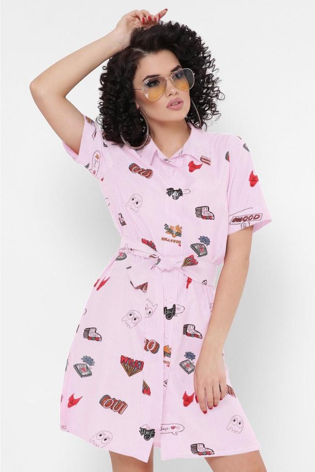 """Молодежное короткое летнее платье-рубашка в полоску с принтами """"Sophie"""" розовое"""