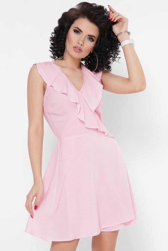 """Летнее короткое платье-сарафан с запахом """"Bambi"""" розовое в горошек"""