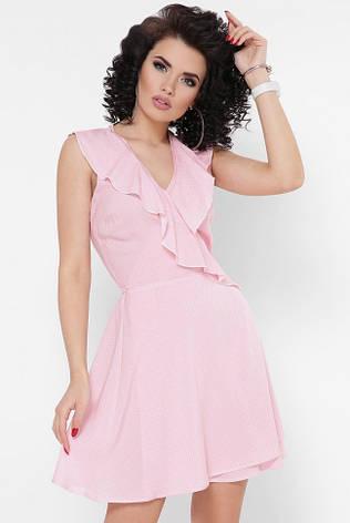 """Летнее короткое платье-сарафан с запахом """"Bambi"""" розовое в горошек, фото 2"""