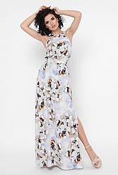 """Нарядный летний длинный сарафан с цветочным принтом и разрезом на юбке """"Florence"""" голубой"""
