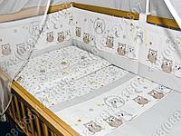 Бортики в детскую кроватку защита бампер Сова клетка