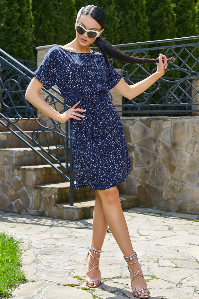 Женское летнее платье-туника, синее в горох, повседневное, молодёжное, свободное, пляжное