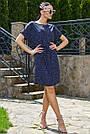 Женское летнее платье-туника, синее в горох, повседневное, молодёжное, свободное, пляжное, фото 2