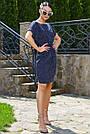 Женское летнее платье-туника, синее в горох, повседневное, молодёжное, свободное, пляжное, фото 4
