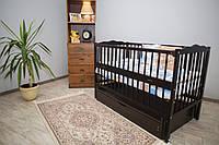Кроватка для новорожденного Веселка цвета Венге с ящиком и маятником