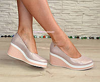 Туфли кожаные женские на платформе, цвет розовый. В наличии 36 размер