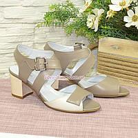 Женские кожаные босоножки на устойчивом каблуке, цвет визон/бежевый. 39 размер