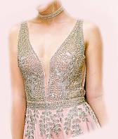 Авторское платье, расшитое камнями, цвет пудра, размер 42/44, на выпускной или торжество, фото 1