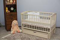 Кроватка для новорожденного Веселка цвета Слоновая кость с ящиком и маятником