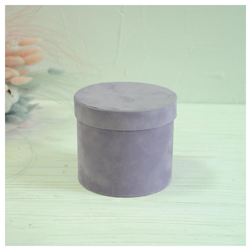 Бархатная круглая коробка для цветов d=11 h=10 см