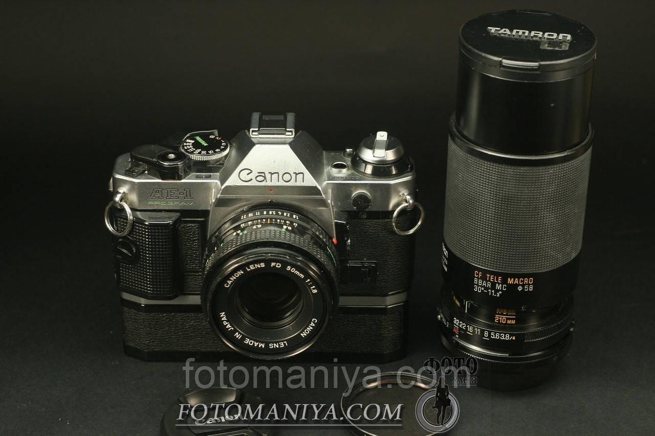 Canon AE-1 Program Canon nFD 50mm f1,8 + Tamron Adaptal II 80-210mm f3.8-4.0 + winder