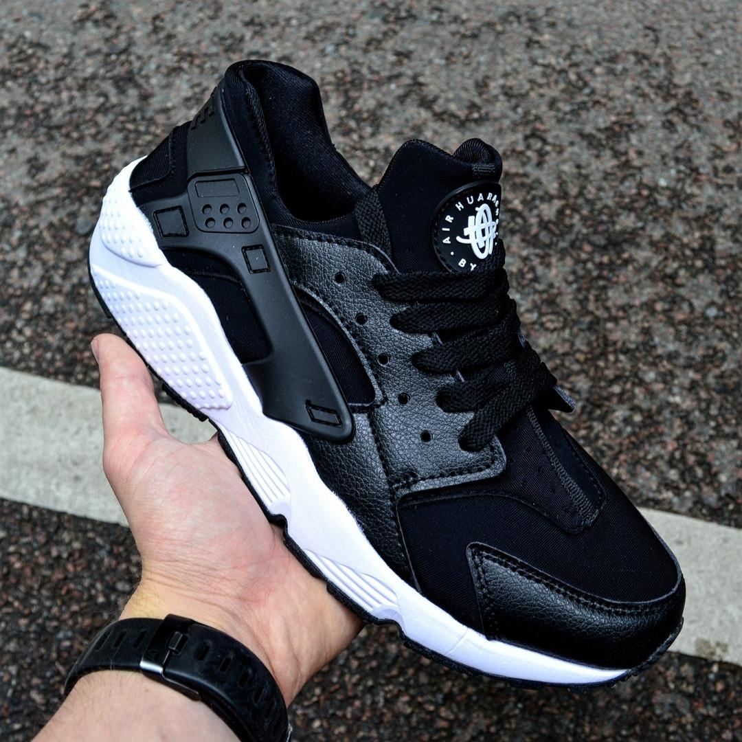 Мужские кроссовки Nike Huarache Black&White черные с белым . Живое фото (Реплика ААА+)