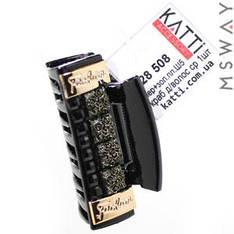 KATTi Краб для волос 28 508 средний пластик черный с золотом, розами Ш5 1шт
