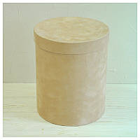Бархатная круглая коробка для цветов d=20 h=25 см, фото 1