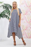 Платье летнее свободное Разлетайка полоса р. 44-66 черно-белый, фото 1