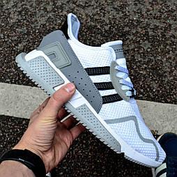 Мужские кроссовки Adidas EQT Cushion ADV Core Black White белые в сетку. Живое фото (Реплика ААА+)