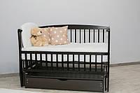 Кроватка для новорожденного Элит цвета Венге с ящиком и маятником
