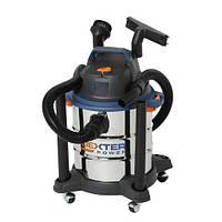 Пылесос для сухой и влажной уборки DEXTER 1400Вт 15кПа 20л бак с нержавеющей стали (Гарантия 3 года)