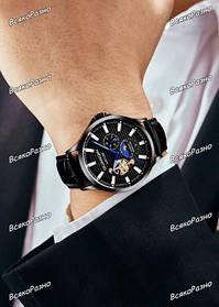 Мужские механические наручные часы GUANQIN с черным циферблатом.