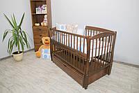 Кроватка для новорожденного Элит цвета Орех с ящиком и маятником