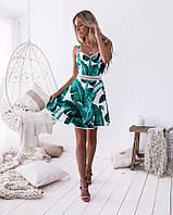 Летнее женское платье с принтом пальмовые лепестки