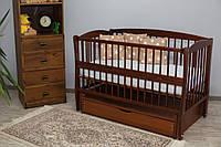 Кроватка для новорожденного Элит цвета Тик с ящиком и маятником