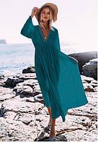 Платье пляжное с кружевными вставками  и рукавами голубого цвета, фото 1