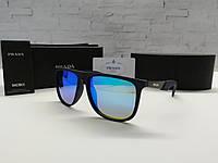 Мужские солнцезащитные очки Prada Прада черные с синими стеклами (реплика)