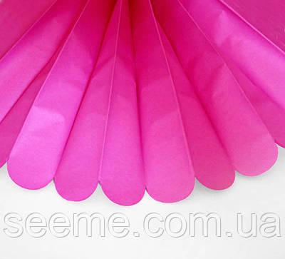 Паперові помпони з тишею «Hot Pink», діаметр 25 див.
