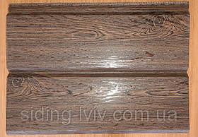 Металевий сайдинг фальш брус (під дошку) темний дуб