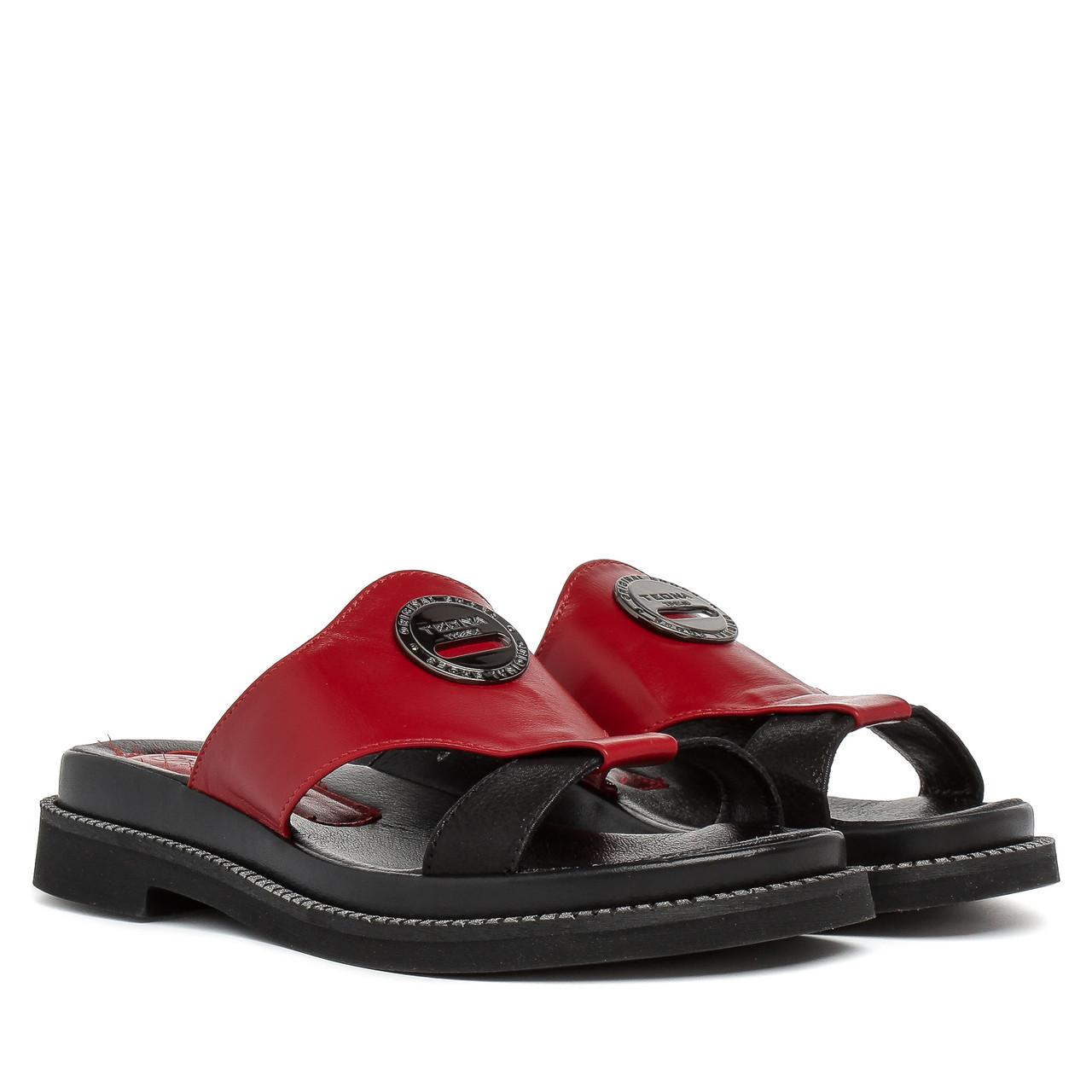 cae442973 Шлепанцы женские TEONA (кожаные, стильные, сочетание красного и черного  цветов) 37