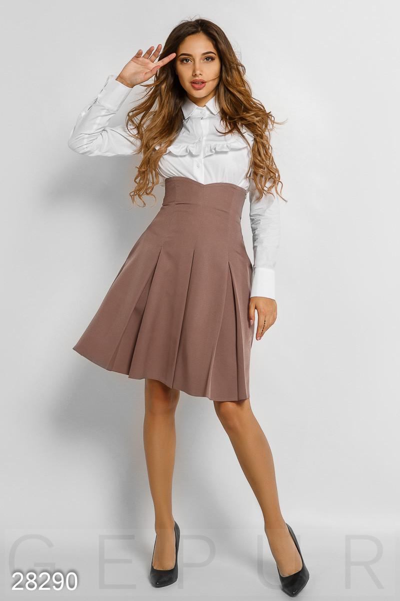 Высокая деловая юбка-кльош кофейного цвета