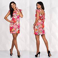 """Коралловое летнее платье с цветами размер M """"Санни"""""""